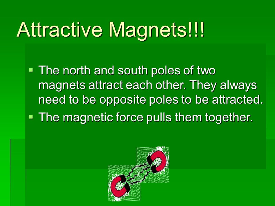 Attractive Magnets!!! The north and south poles of two magnets attract each other. They always need to be opposite poles to be attracted.