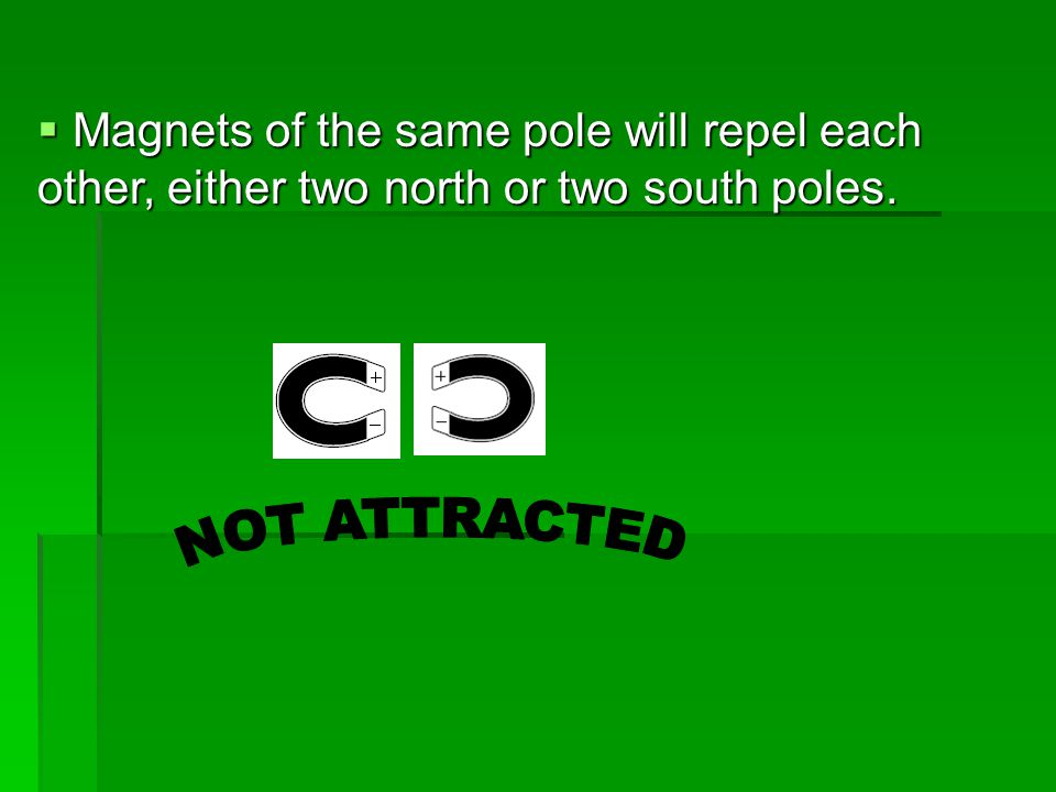 Magnets of the same pole will repel each other, either two north or two south poles.