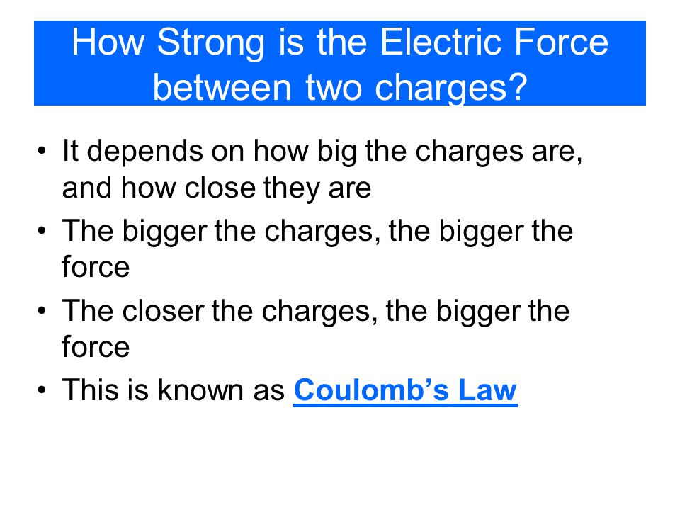 How Strong is the Electric Force between two charges