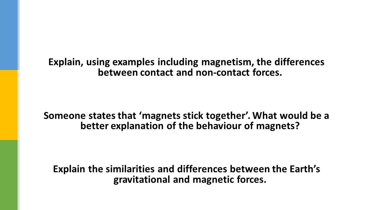 Explain, using examples including magnetism, the differences between contact and non-contact forces.