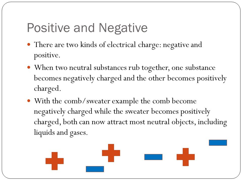 Positive and Negative There are two kinds of electrical charge: negative and positive.