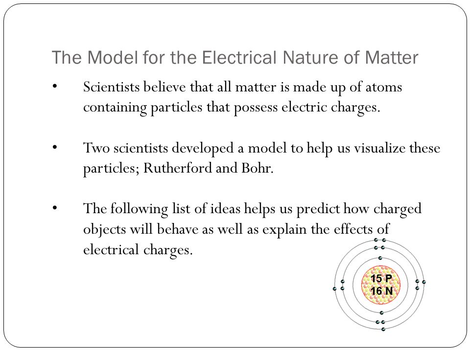 The Model for the Electrical Nature of Matter