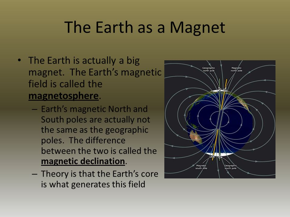 The Earth as a Magnet The Earth is actually a big magnet. The Earth's magnetic field is called the magnetosphere.