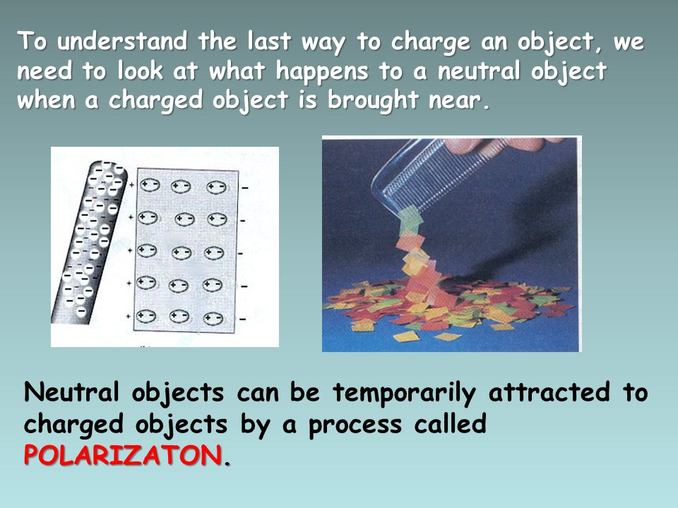 To understand the last way to charge an object, we need to look at what happens to a neutral object when a charged object is brought near.