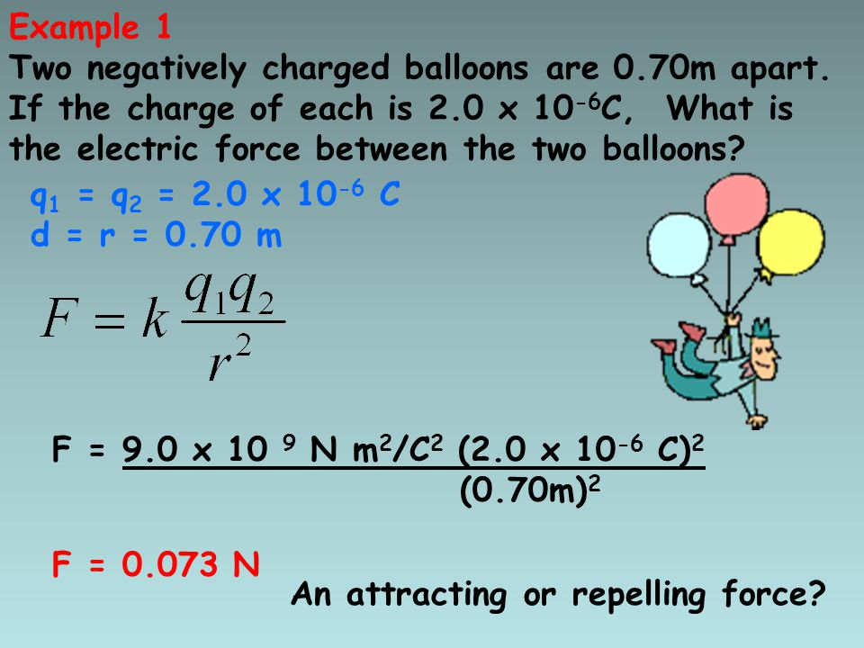 Example 1 Two negatively charged balloons are 0.70m apart.