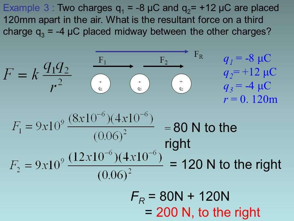 = 120 N to the right FR = 80N + 120N = 200 N, to the right q1 = -8 μC