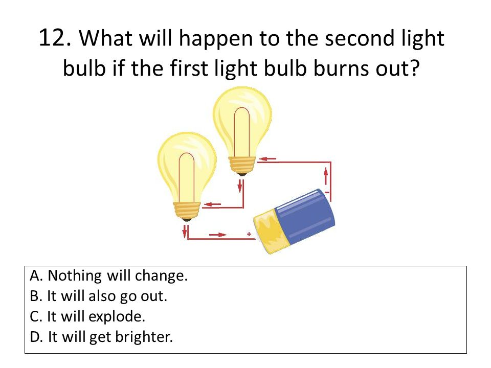 12. What will happen to the second light bulb if the first light bulb burns out