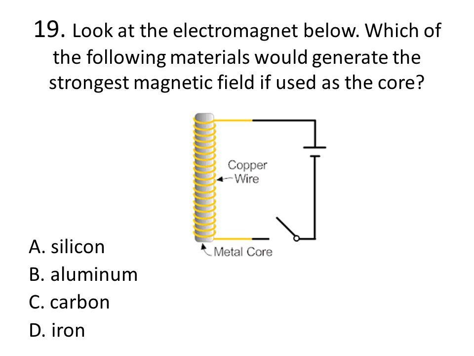 19. Look at the electromagnet below