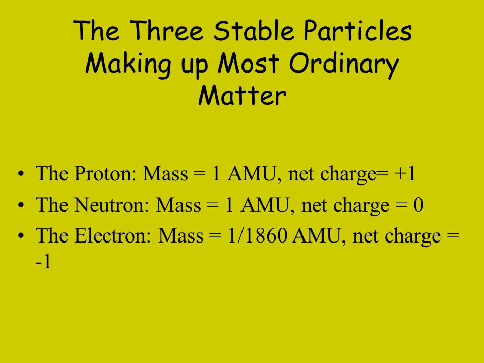 The Three Stable Particles Making up Most Ordinary Matter