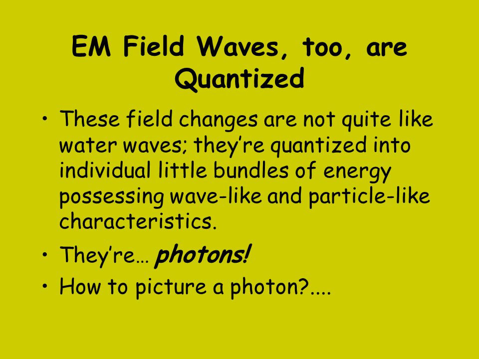 EM Field Waves, too, are Quantized
