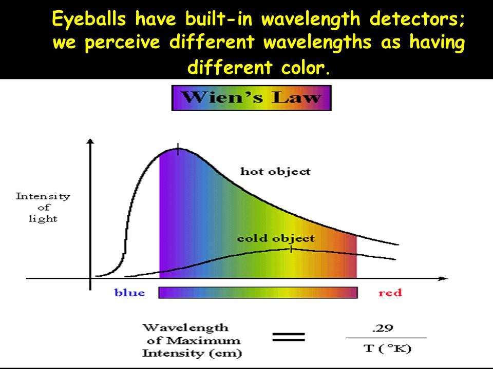 Eyeballs have built-in wavelength detectors; we perceive different wavelengths as having different color.