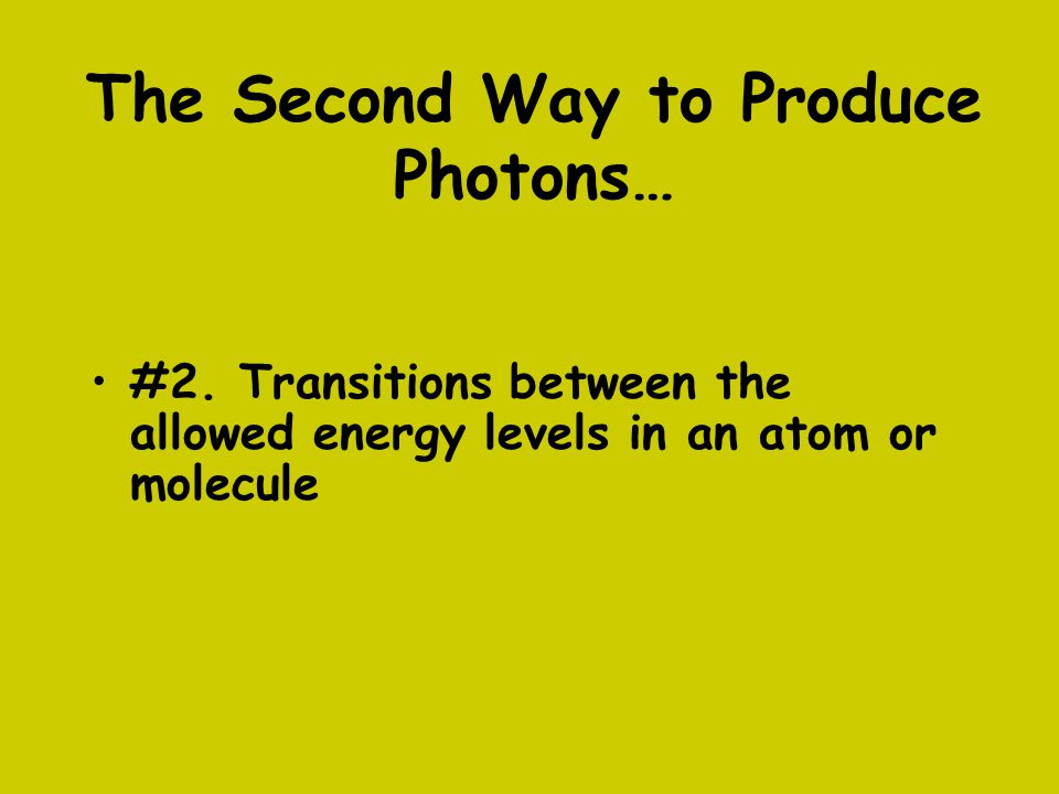 The Second Way to Produce Photons…