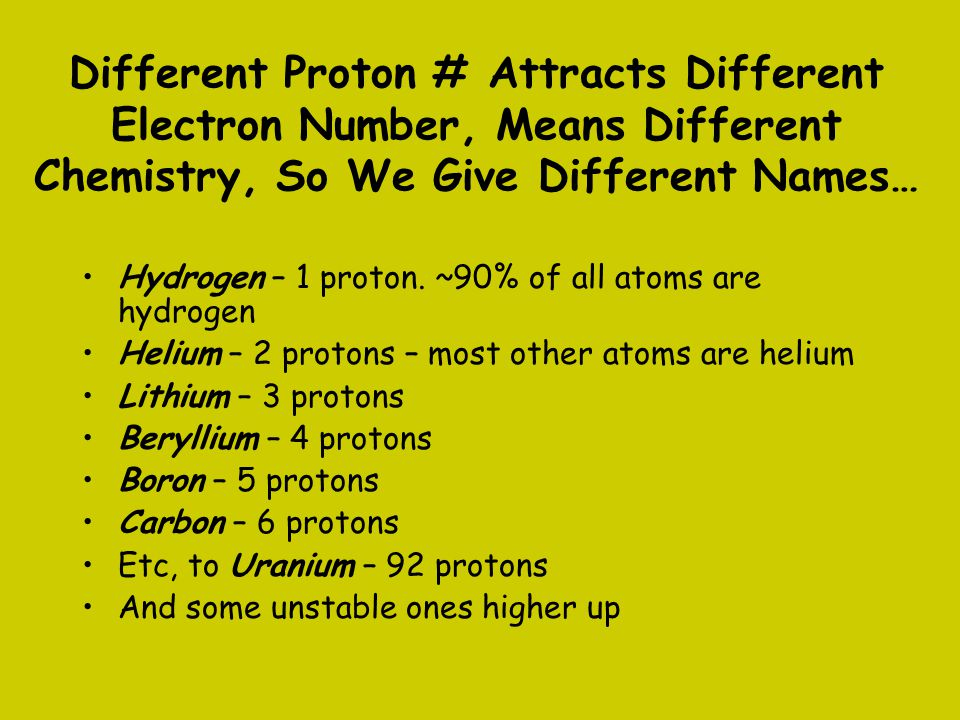 Different Proton # Attracts Different Electron Number, Means Different Chemistry, So We Give Different Names…