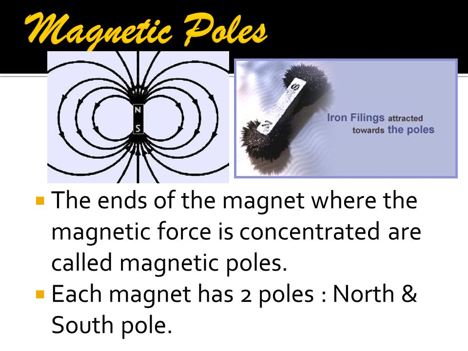 Magnetic Poles The ends of the magnet where the magnetic force is concentrated are called magnetic poles.