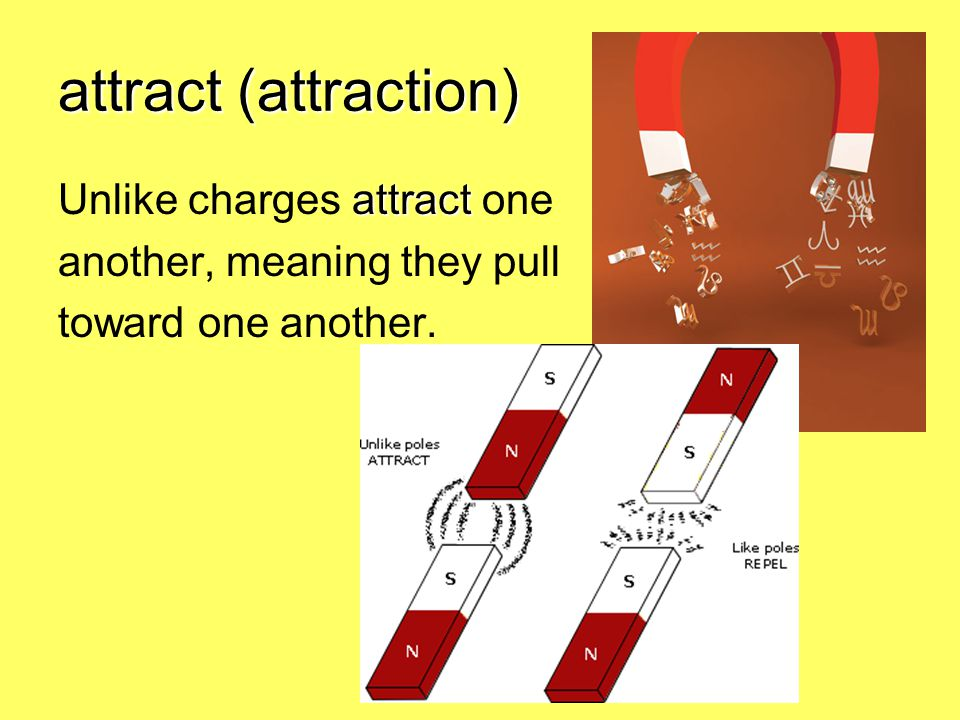 attract (attraction) Unlike charges attract one
