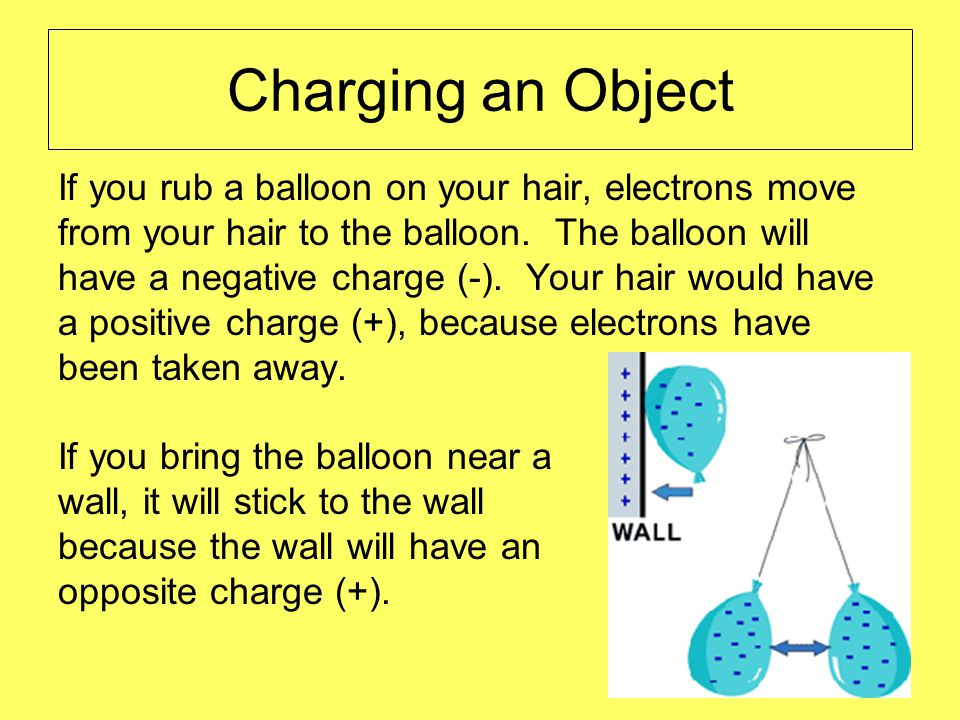 Charging an Object If you rub a balloon on your hair, electrons move