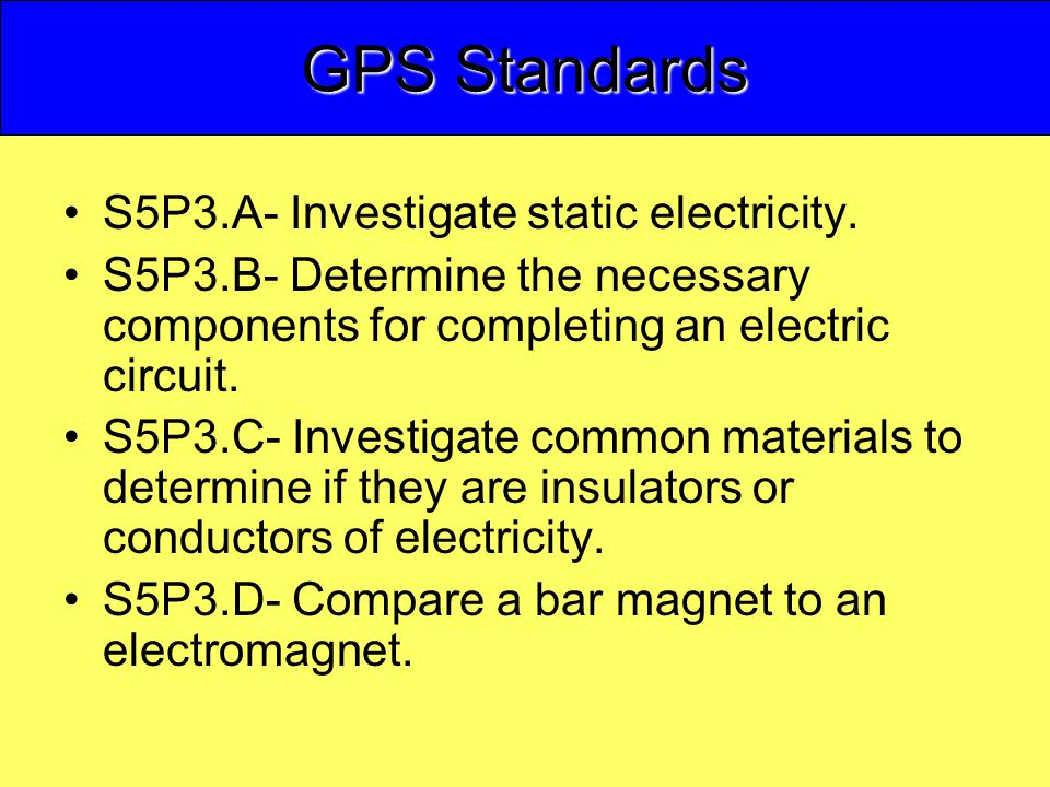 GPS Standards S5P3.A- Investigate static electricity.