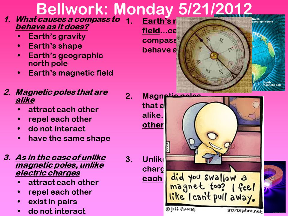 Bellwork: Monday 5/21/2012 What causes a compass to behave as it does