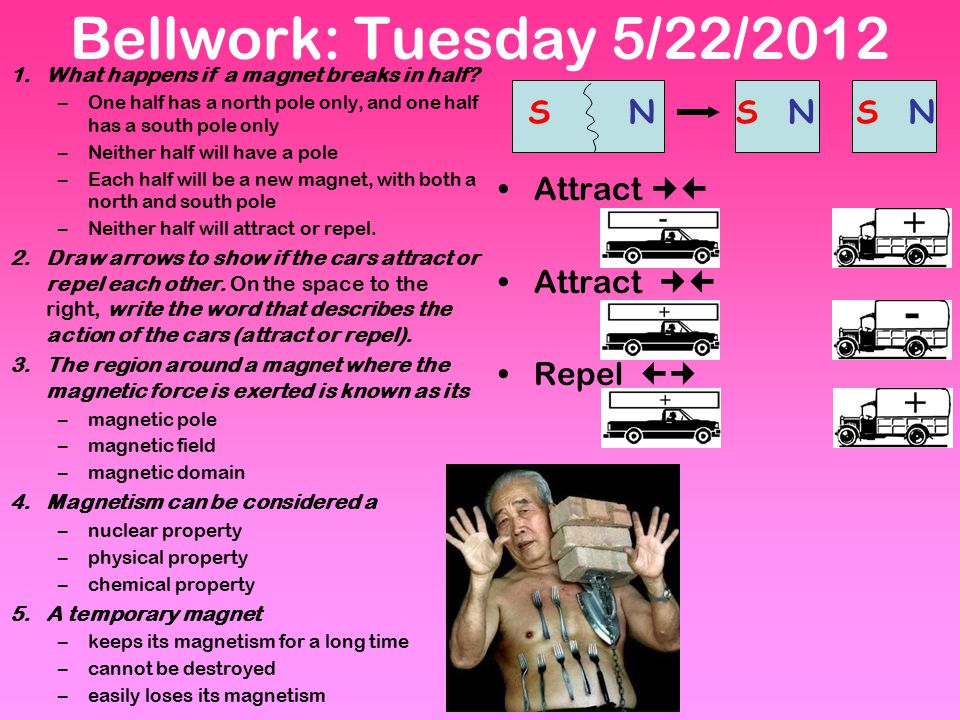 Bellwork: Tuesday 5/22/2012 Attract  Attract  Repel  S N S N S N