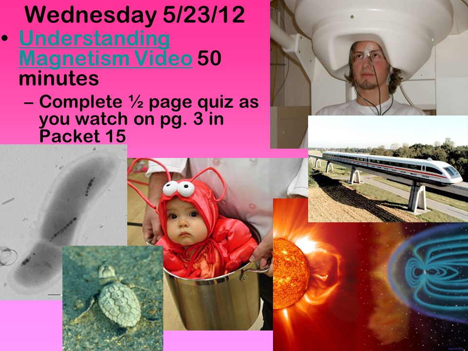 Wednesday 5/23/12 Understanding Magnetism Video 50 minutes