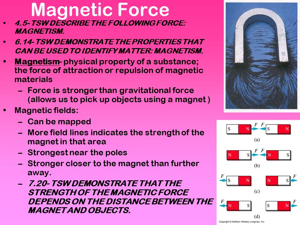 Magnetic Force 4.5- TSW DESCRIBE THE FOLLOWING FORCE: MAGNETISM.