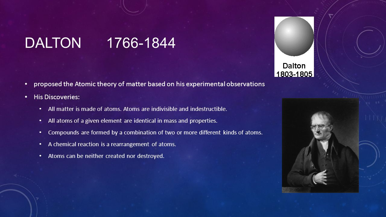 Dalton 1766-1844 proposed the Atomic theory of matter based on his experimental observations. His Discoveries: