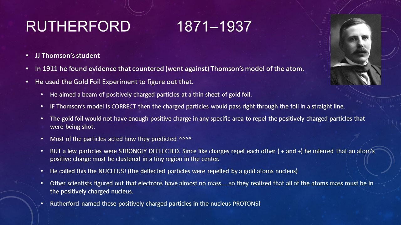 Rutherford 1871–1937 JJ Thomson's student