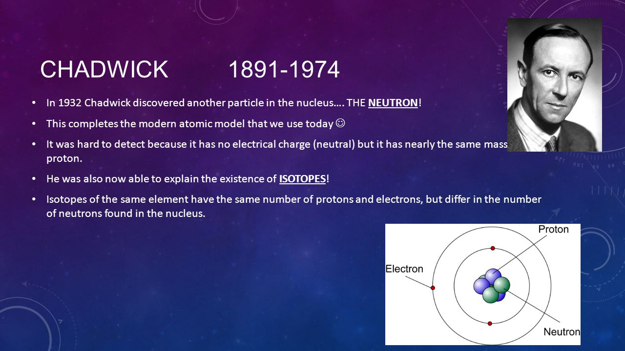 Chadwick 1891-1974 In 1932 Chadwick discovered another particle in the nucleus…. THE NEUTRON!