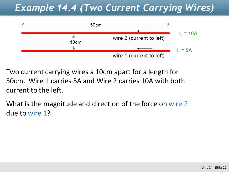 Example 14.4 (Two Current Carrying Wires)