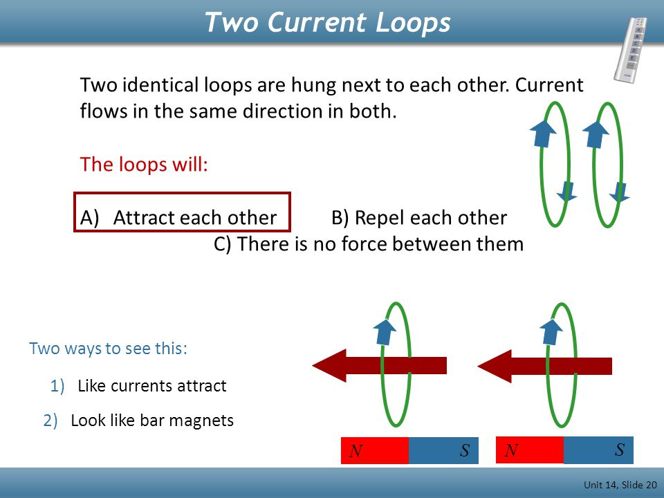 Two Current Loops Two identical loops are hung next to each other. Current flows in the same direction in both.