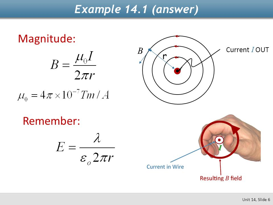Example 14.1 (answer) Magnitude: B Current I OUT r • Remember: