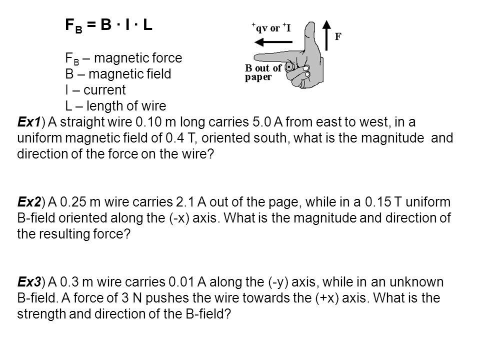FB = B ∙ I ∙ L FB – magnetic force. B – magnetic field. I – current. L – length of wire.