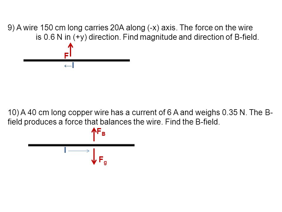 9) A wire 150 cm long carries 20A along (-x) axis