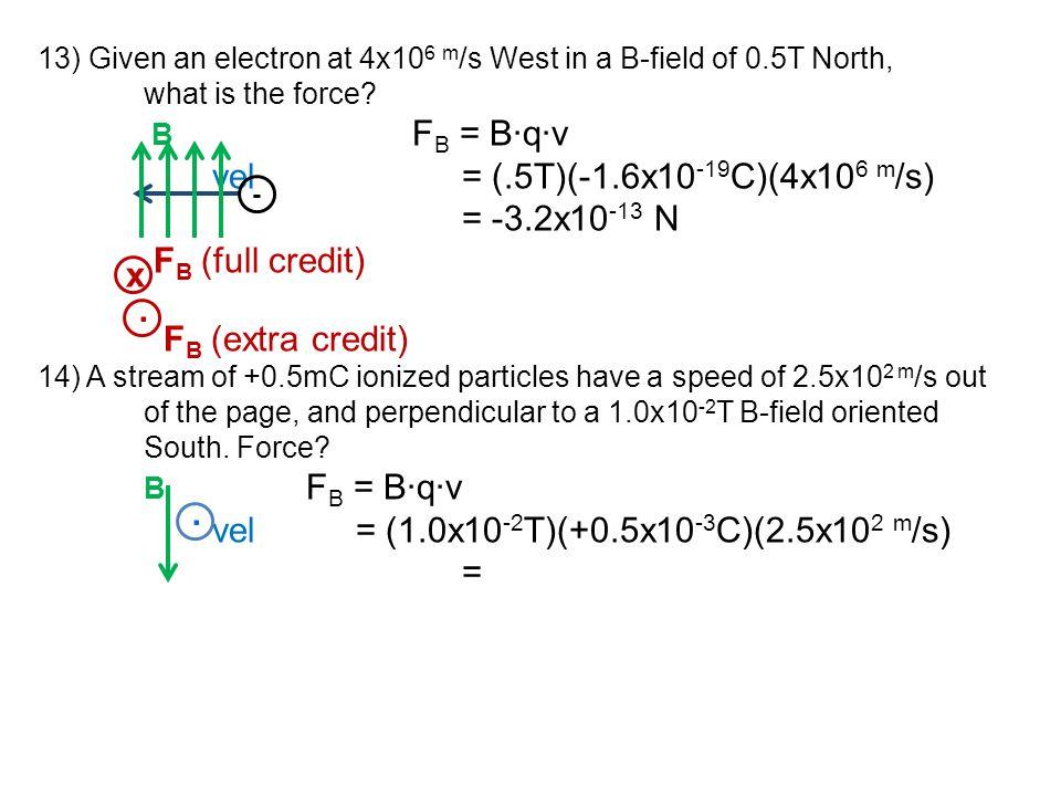 vel = (1.0x10-2T)(+0.5x10-3C)(2.5x102 m/s) = x .