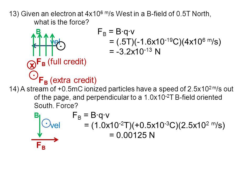 vel = (1.0x10-2T)(+0.5x10-3C)(2.5x102 m/s) = 0.00125 N x .
