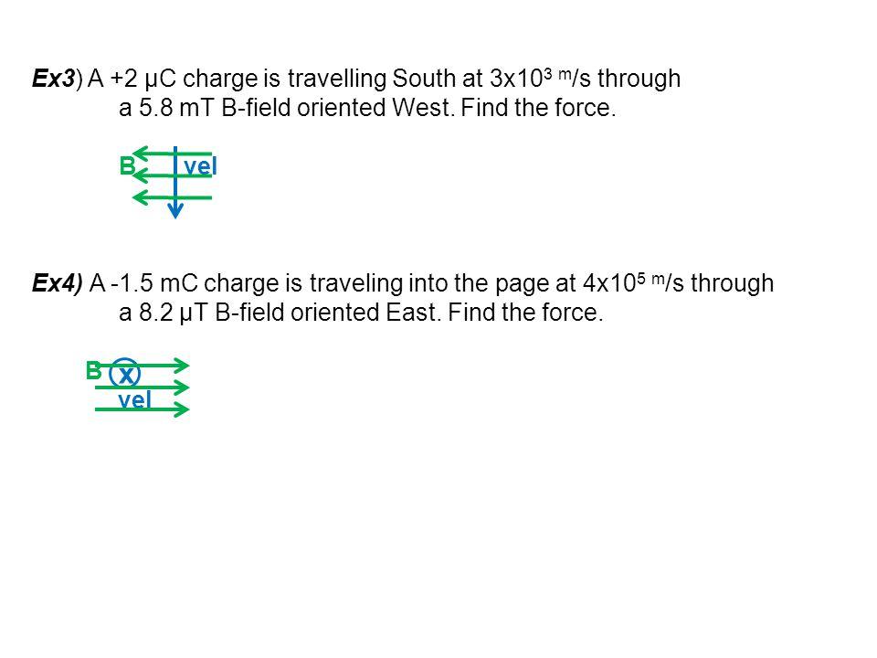 x Ex3) A +2 μC charge is travelling South at 3x103 m/s through