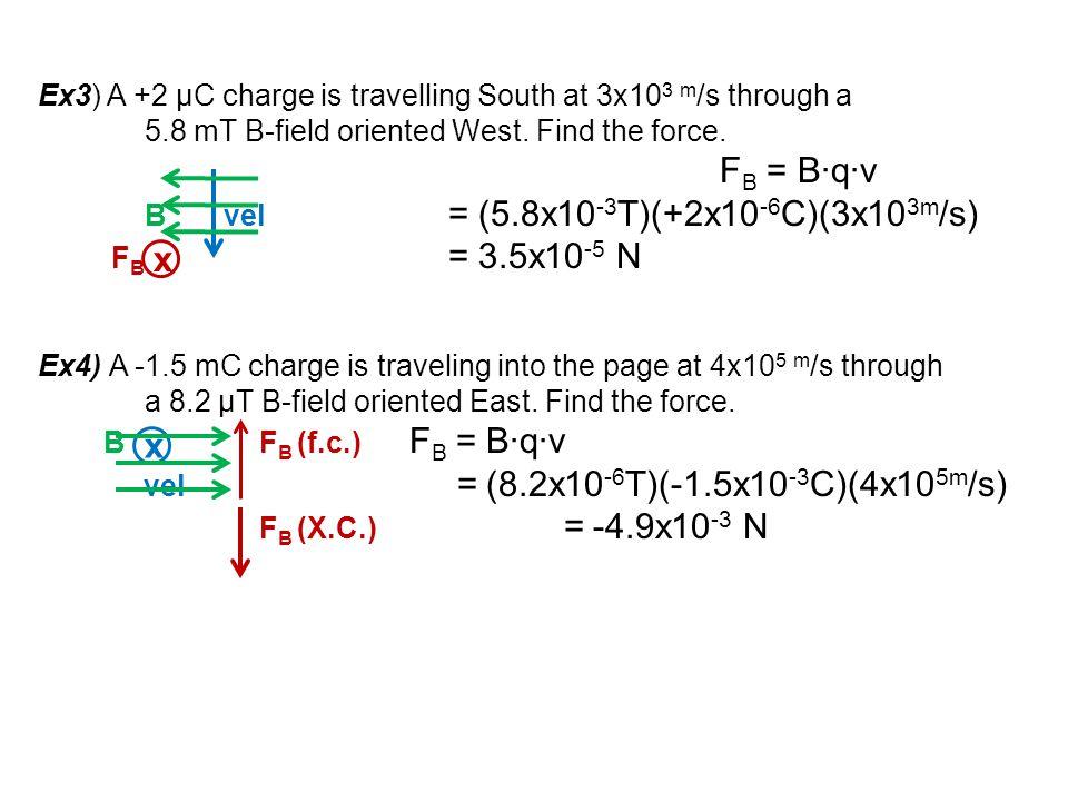 x x Ex3) A +2 μC charge is travelling South at 3x103 m/s through a