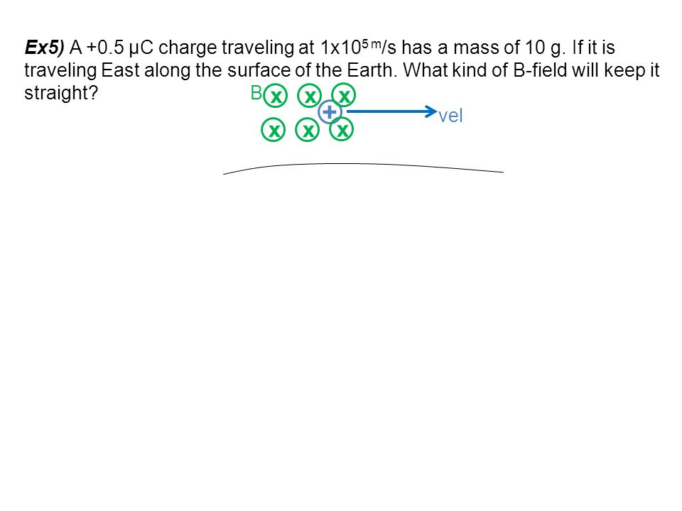 Ex5) A +0. 5 μC charge traveling at 1x105 m/s has a mass of 10 g