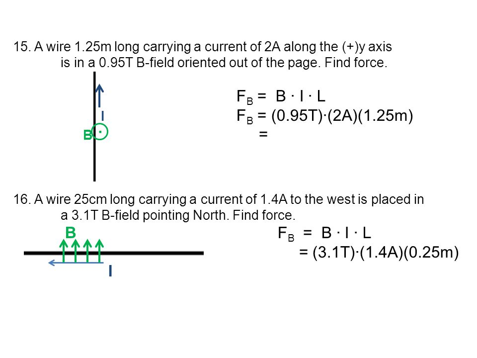 15. A wire 1.25m long carrying a current of 2A along the (+)y axis