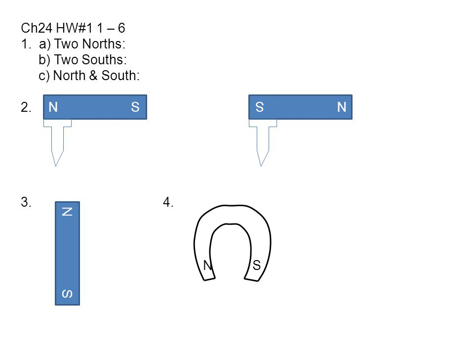 Ch24 HW#1 1 – 6 1. a) Two Norths: b) Two Souths: c) North & South: 2. 3. 4. N S.