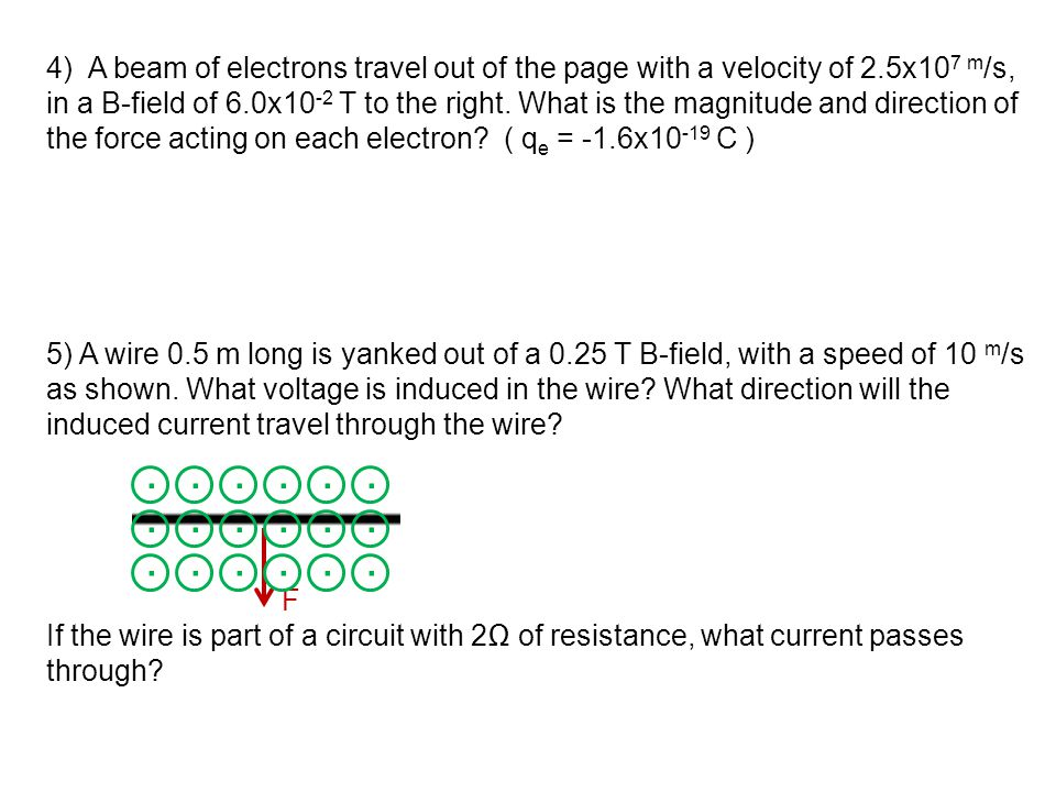 4) A beam of electrons travel out of the page with a velocity of 2