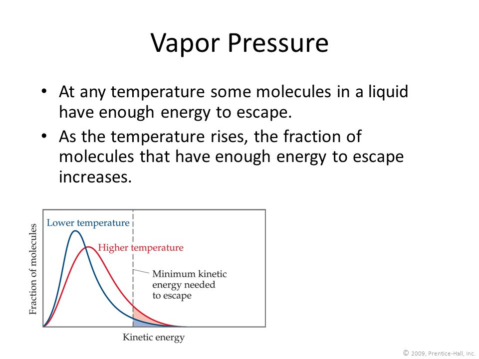 Vapor Pressure At any temperature some molecules in a liquid have enough energy to escape.