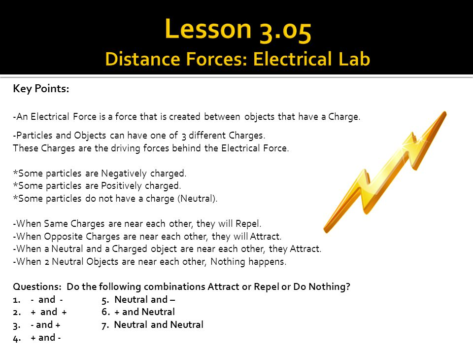 Lesson 3.05 Distance Forces: Electrical Lab