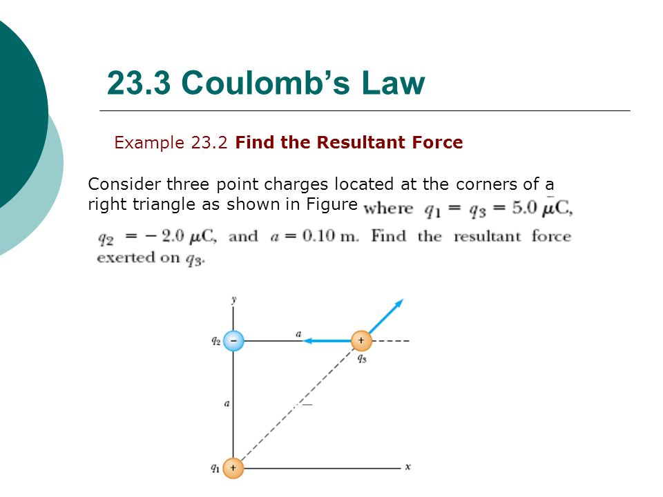 23.3 Coulomb's Law Example 23.2 Find the Resultant Force