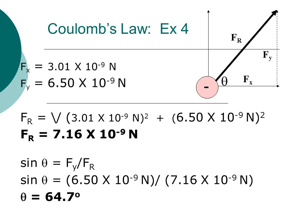 Coulomb's Law: Ex 4 - q FR = \/ (3.01 X 10-9 N)2 + (6.50 X 10-9 N)2