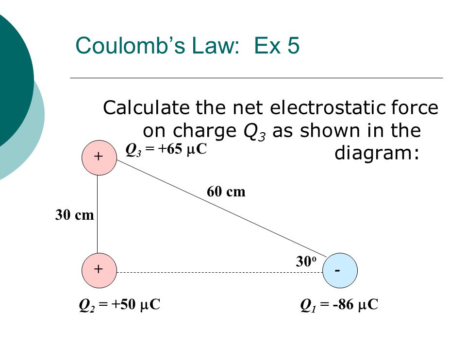 Coulomb's Law: Ex 5 Calculate the net electrostatic force on charge Q3 as shown in the diagram: Q3 = +65 mC.