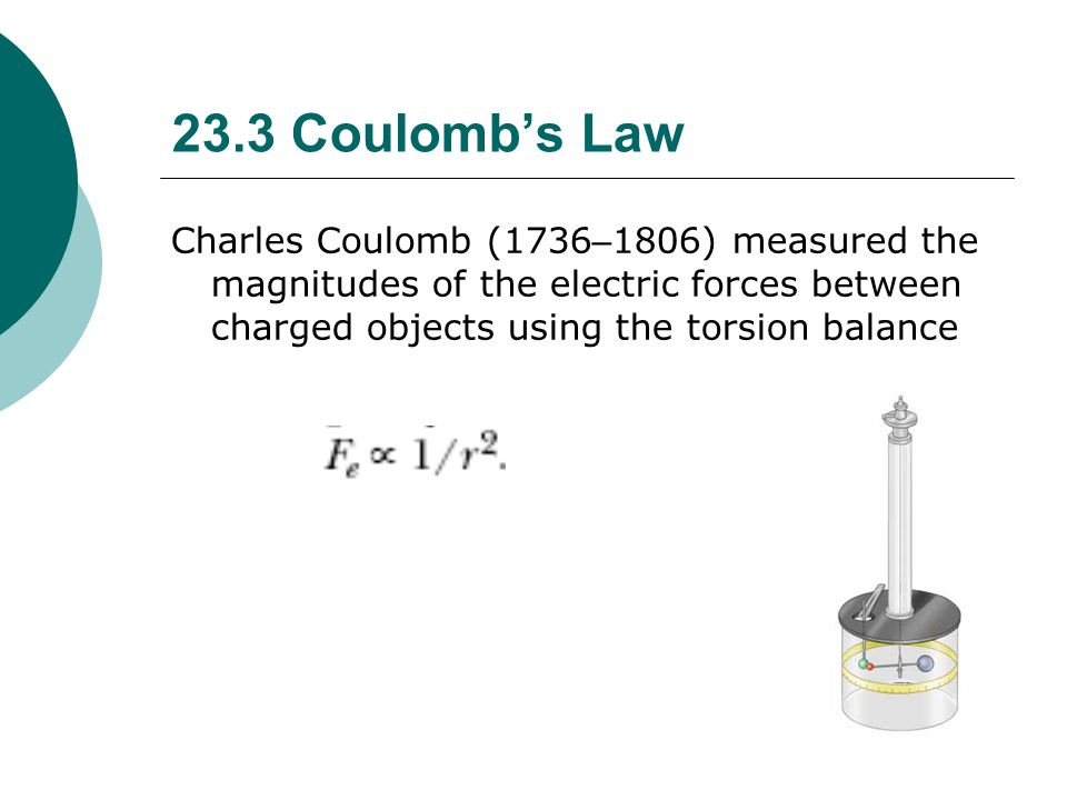 23.3 Coulomb's Law Charles Coulomb (1736–1806) measured the magnitudes of the electric forces between charged objects using the torsion balance.