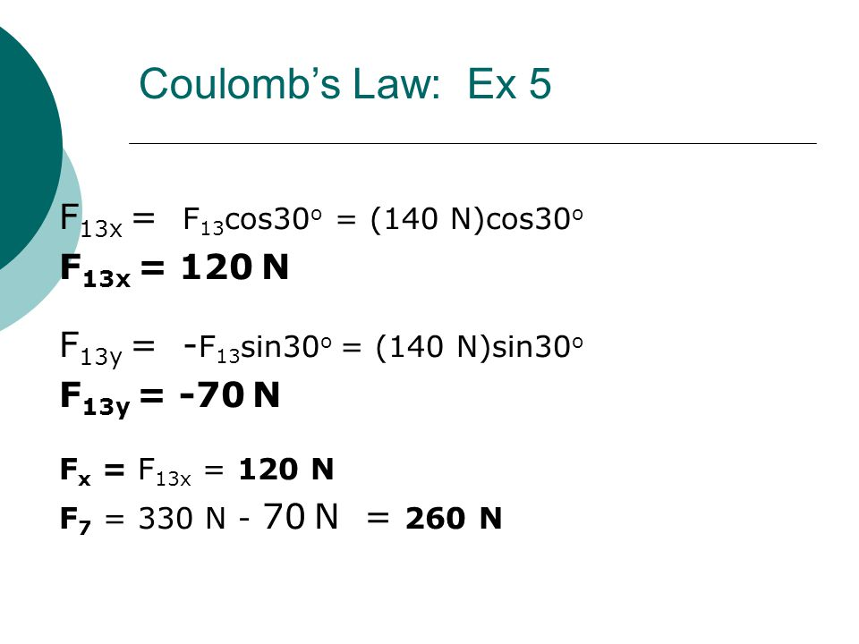 Coulomb's Law: Ex 5 F13x = F13cos30o = (140 N)cos30o F13x = 120 N