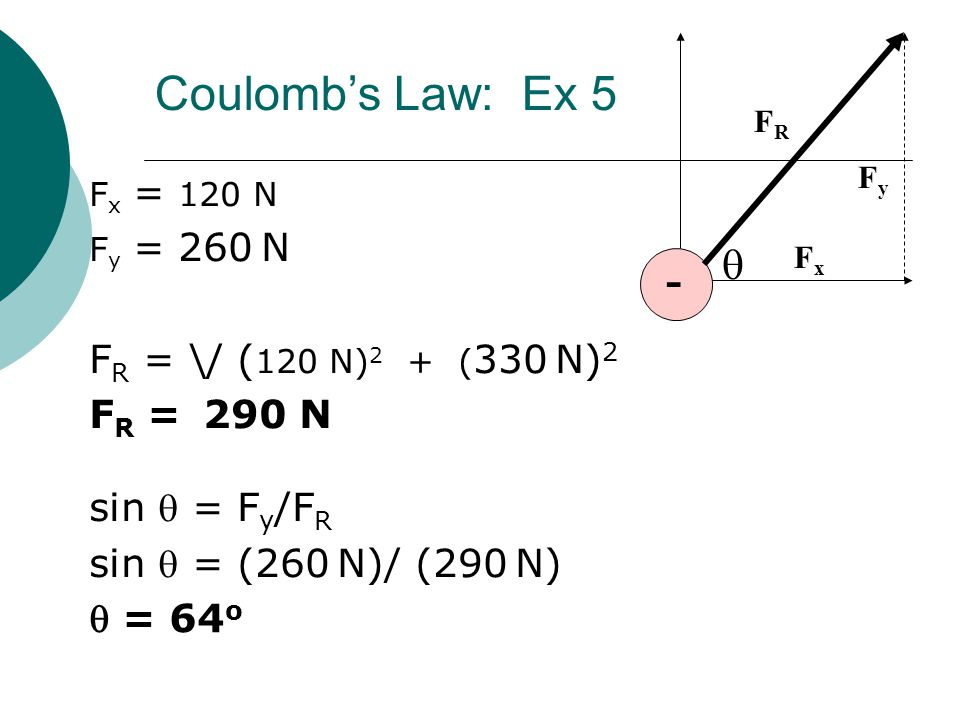 Coulomb's Law: Ex 5 - q FR = \/ (120 N)2 + (330 N)2 FR = 290 N