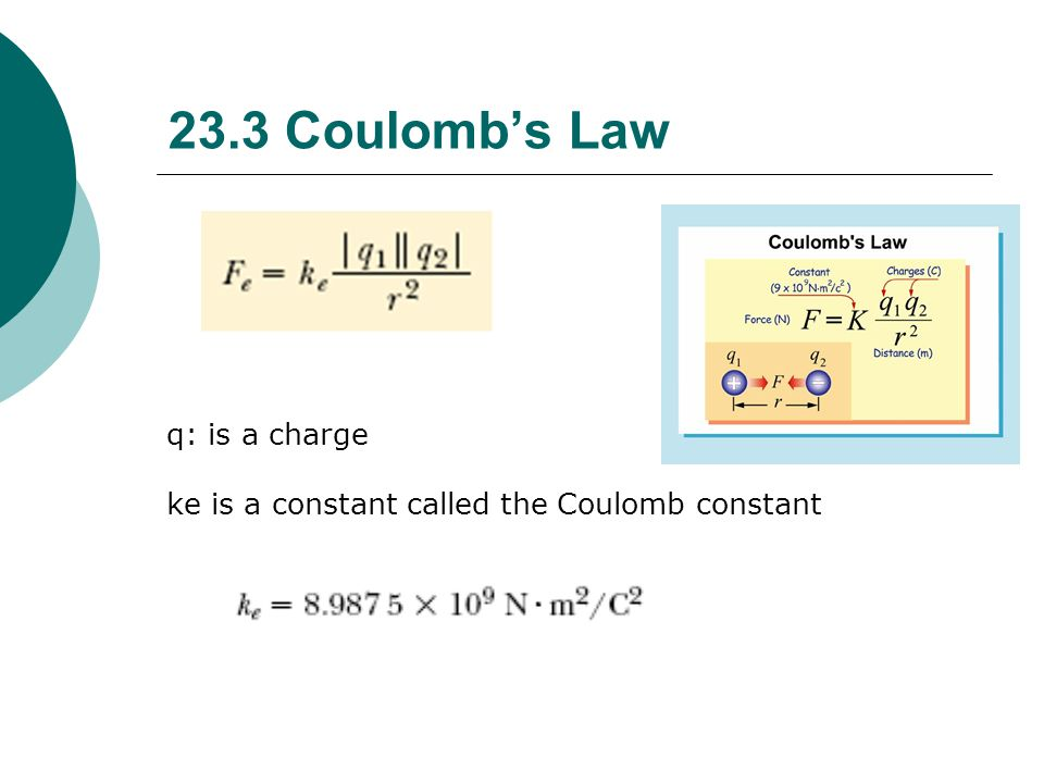 23.3 Coulomb's Law q: is a charge